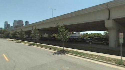 Parking below 3rd/4th Street viaduct.