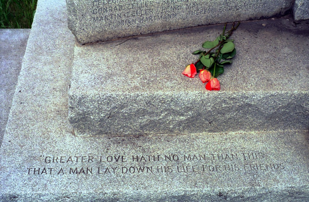In 2007, I photographed these roses left at the base of the Milford Monument west of New Ulm. The memorial honors Milford settlers who died in the U.S.-Dakota War of 1862.
