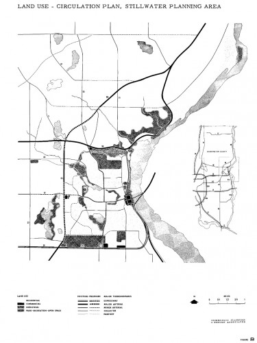 1961 proposal for the Stillwater area showing a westerly bypass of MN 95.