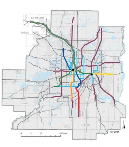 "A possible map of our future transit system, only possible in an ""Increased Revenue Scenario"" according to the Met Council's 2040 Transportation Policy Plan."