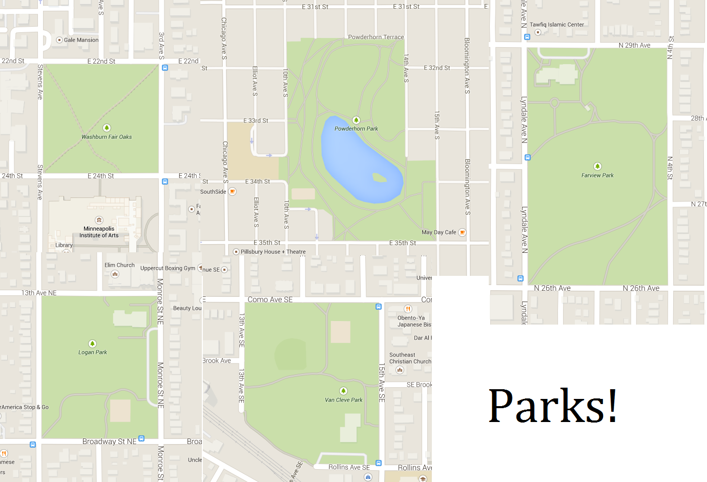 Parks with closed streets