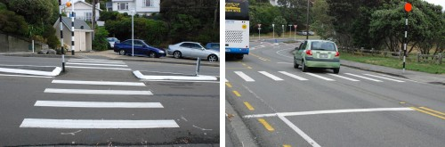 Well-marked pedestrian crossings in Wellington