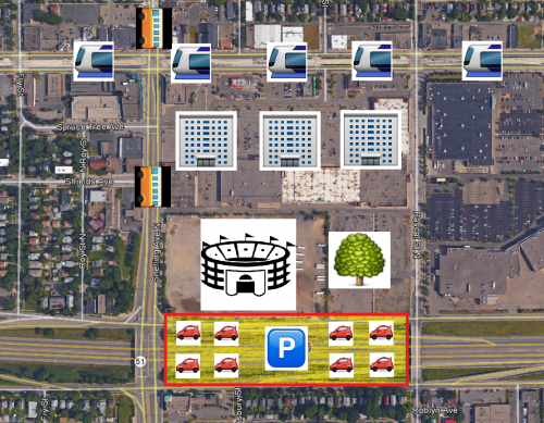 Parking over Interstate 94, mixed with transit, TOD, and maybe a Midtown Greenway(!!!) connection.