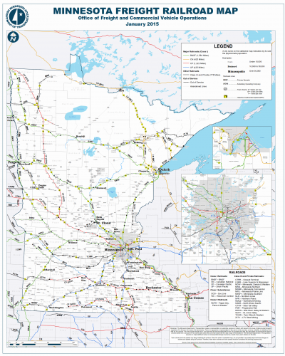 Map of rail lines in Minnesota