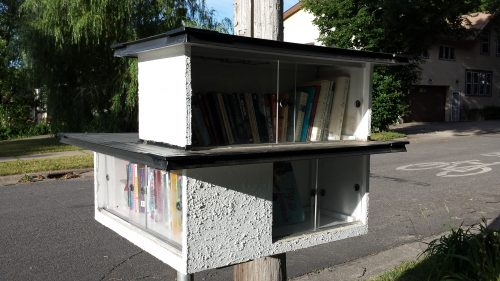 Modernist Little Library at 12th Avenue South and 40th Street East