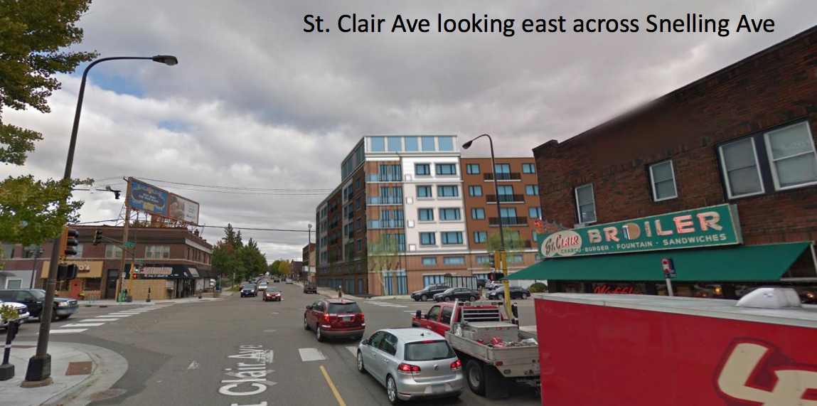 Rendering showing the new St Clair development in context of existing buildings. (Note: design has since changed)