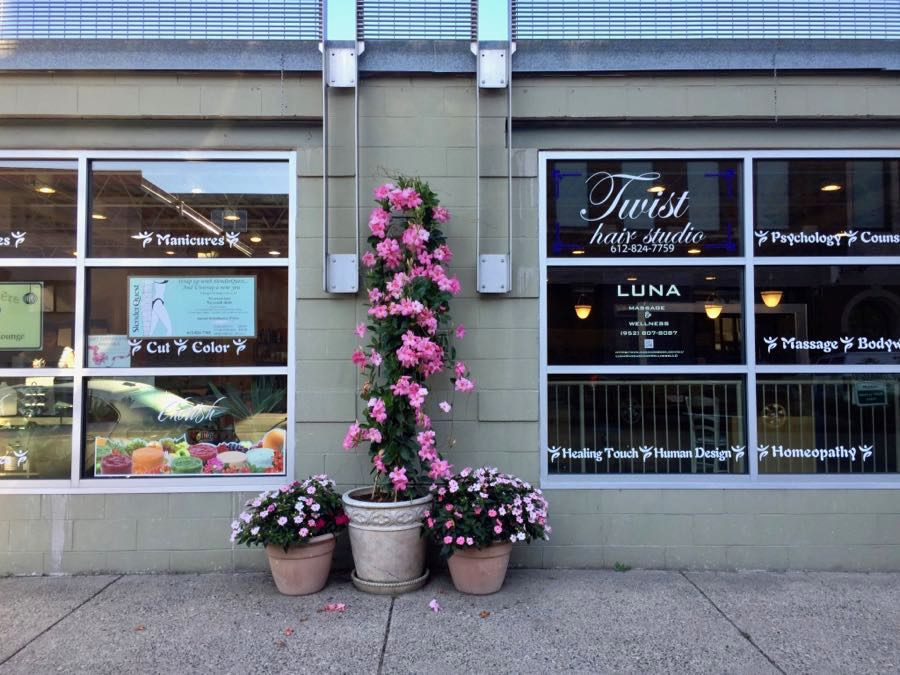 Flowers in front of Twist Hair Studio
