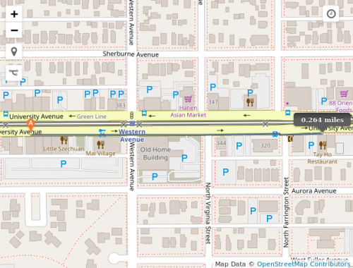 Map of walking route on University Avenue
