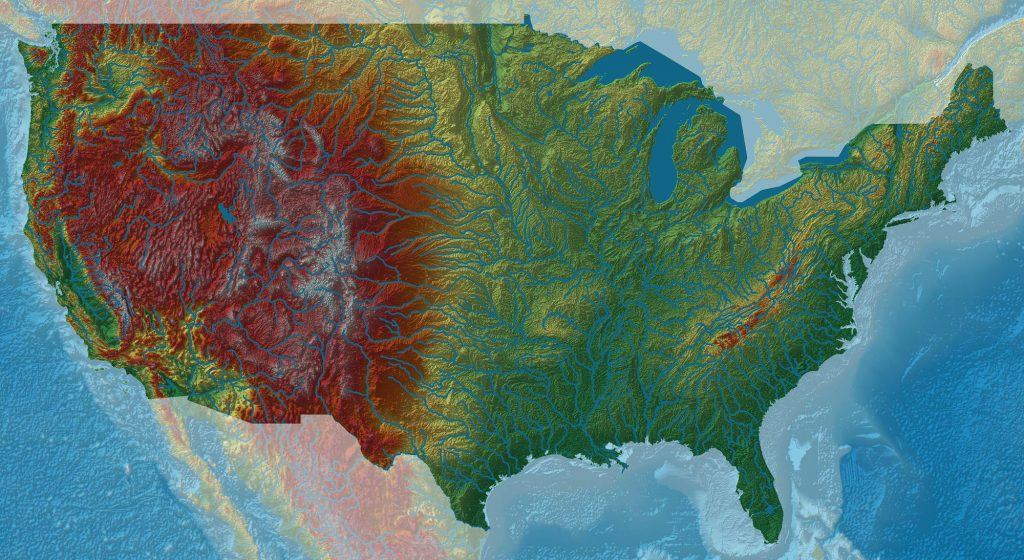 Elevation Map of the US