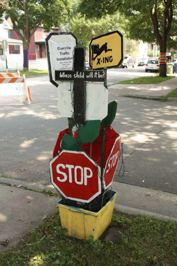 Photo shows homemade traffic signs