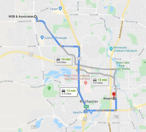 The route from the kmart site to the meeting at WSB is a 13 minute drive and the location is not accessible by transit.