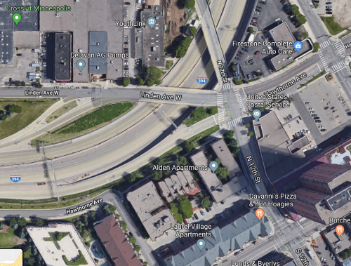 Larger overhead view of the intersection of 12th St N and Linden Ave W in Minneapolis
