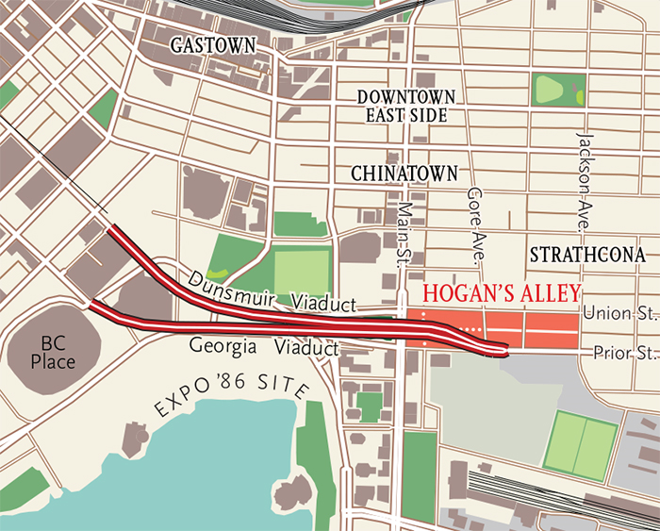 Map of Hogan's Alley, in Vancouver, BC, Canada