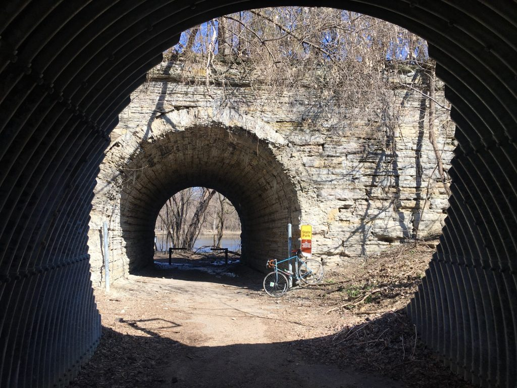 Railroad tunnel to the the river bottoms at Old Mendota