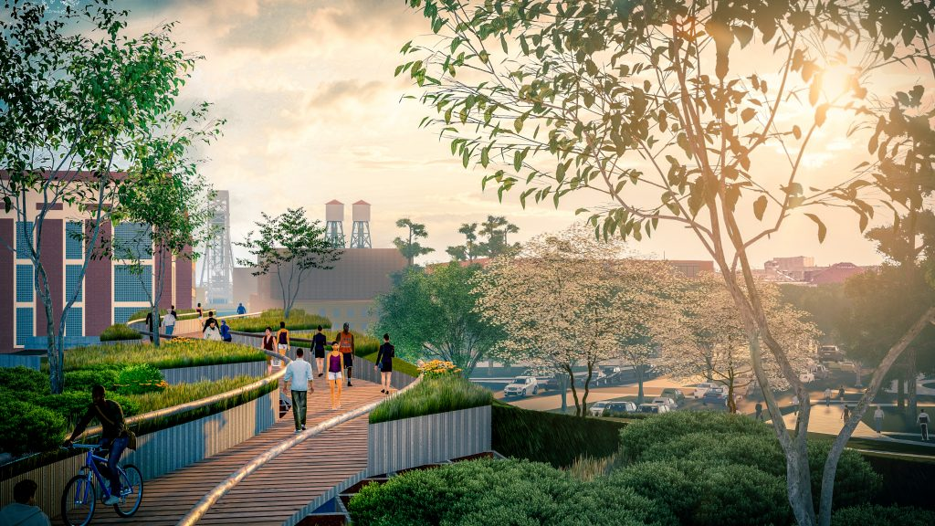 A rendering showing a new pedestrian bridge over the parkway.